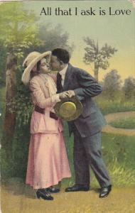 Romantic Couple Kissing All That I Ask Is Love 1914