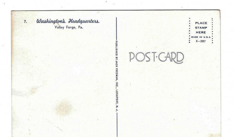 PA Valley Forge Natl Park George Washingtons Headquarters Jack Freeman Postcard