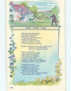Pre-Linen HOME SWEET HOME - MUSIC LYRICS & DOG GREETS MAN HL6443