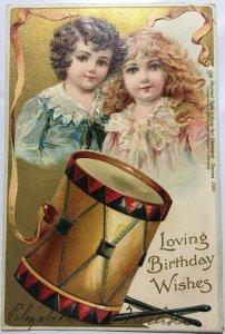 Childrens Loving Birthday Wishes Postcard Rapheal Tuck 1905 Drum Boy Girl