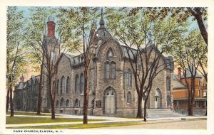 Elmira New York~Park Church~House Next Door~Round Tower~1920s Postcard