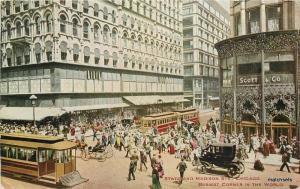 1912 Chicago Illinois State Madison Trolleys Autos Hammon postcard 8611
