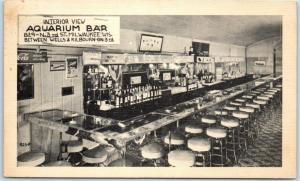 Milwaukee, Wisconsin Postcard Interior View - AQUARIUM BAR 829 N. 3rd St. 1940