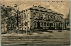 1910s Northampton, Massachusetts Postcard HIGH SCHOOL Building / Street View