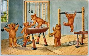 Vintage TEDDY BEAR Postcard Gymnastics Workout Scene in Gym 1936 Holland Cancel