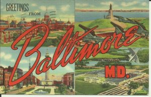 Greetings From Baltimore, Md. Large Letter Greeting Card