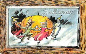 Rare Halloween J-O-L Dancing Witch Indian Clown Princess H. M. Roge Postcard