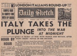 Daily Sketch Italy Enters WW2 War 1940 Reprint Newspaper