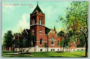 Fargo North Dakota~First Presbyterian Church~Spring Trees Dot Landscape~1910 PC