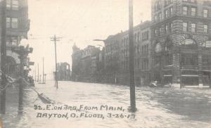 Dayton Ohio~East on 3rd Street @ Main~Great Flood March 26 1913 B&W Postcard