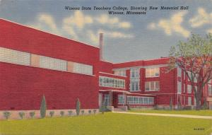 Winona Minnesota~State Teachers College~Art Deco Memorial Hall~1955 Linen PC