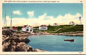 Maine Portland Two Lights Lighthouse and Cape Elizabeth Life Saving Station