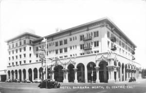 El Centro California~Hotel Barbara Worth~Shell Gas~Classic Cars~1940s RPPC