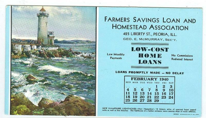 Feb 1940 Farmers Savings Loan & Homestead Assoc. Peoria ILL