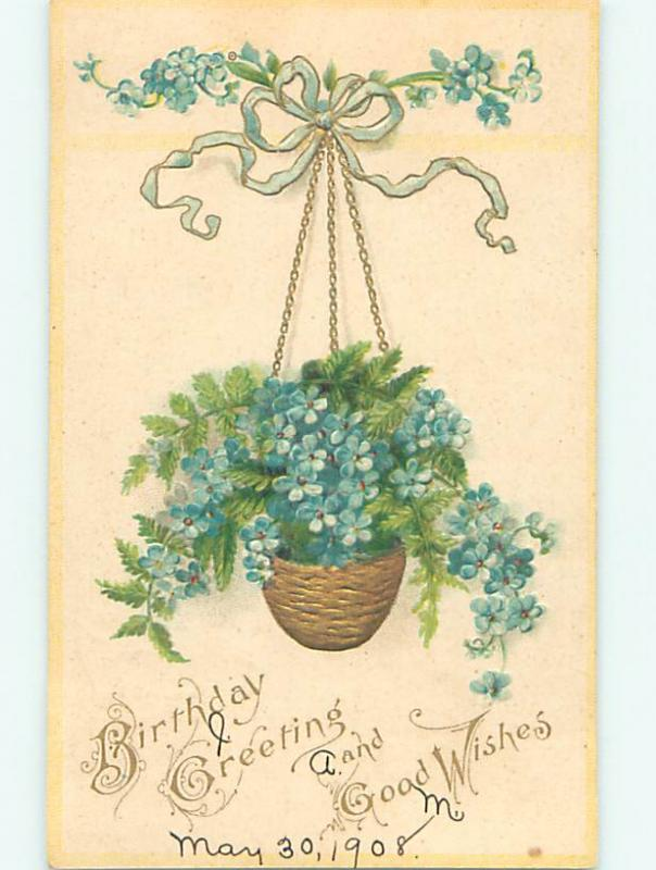 1908 birthday BEAUTIFUL FORGET-ME-NOT FLOWERS IN HANGING BASKET o9358