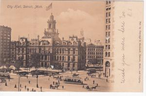 DETROIT, Michigan, 1900-1910´s; City Hall, Clable Cars, Horse Carriages