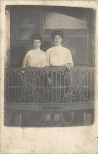 Chicago IL~White City Amusement Park~Victorian Ladies on Train Caboose~1910 RPPC