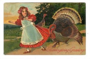 Girl Walking With A Turkey, Thanksgiving Greetings, PU-1908