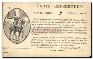 Old Postcard Jeanne d & # 39Arc Map Referendum To Justice For Freedom TOP