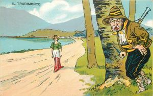 Italy patriotic woman flag dress caricatures treachery Il Tradimento Rare PC