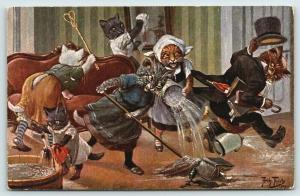 Arthur Thiele~Fantasy Dressed Cats~Maids Push Aristocat Out of Room~Woe~TSN 1602