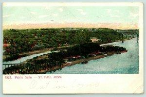 St Paul Minnesota~Public Baths~Birdseye Island Beach~Bridges~1907 Postcard