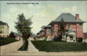 Rumford Falls ME Somerset St. c1910 Postcard