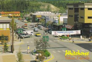 Bird's-eye View of Main Street, Yukon River, Whitehorse, Yukon, Canada, 50-70´s