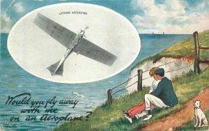 1912 Early Aviation Latham Tuck Romance Oilette #9640 Postcard 21-5693