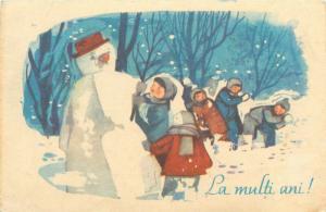 New Year greetings Romania 1966 children snowball fight snowman fantasy postcard