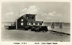curacao, D.W.I., WILLEMSTAD, Vista Alegre Beach, Old Cars (1920s) RPPC 21