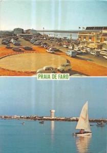 Portugal Praia de Faro Algarve Voitures Cars Auto, Sea Boats Panorama 1987