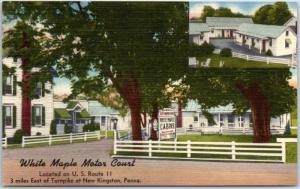 New Kingston, PA Postcard WHITE MAPLE MOTOR COURT Route 11 Roadside Linen c1950s