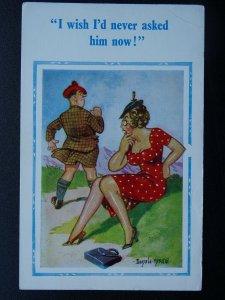 Kilt Theme I WISH I'D NEVER ASKED Scottish Comic Postcard by Donald McGill