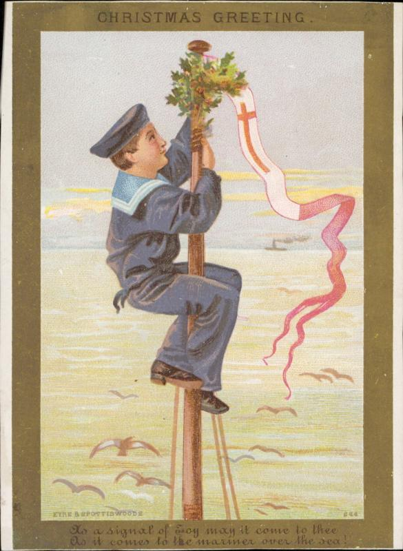collectible christmas sailor boy costume poem greeting vintage old chromo litho