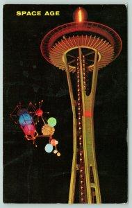 Seattle Washington~World's Fair~Space Needle~Satellite~Night View~Postmark 1962