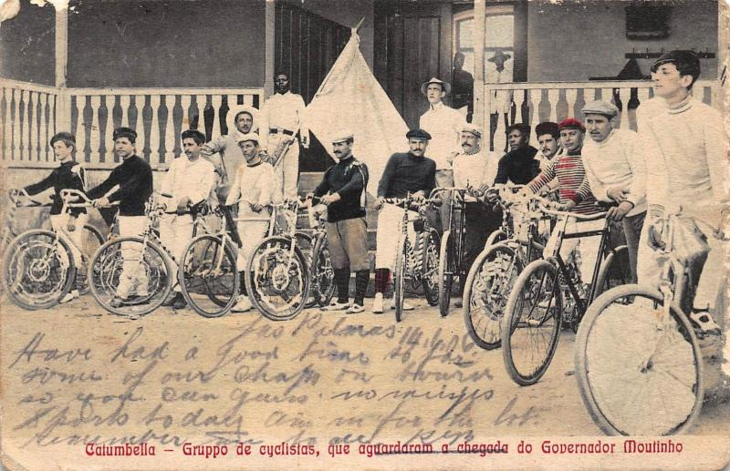 Angola Catumbella cyclists group 1906 ,rare Africa Postcard