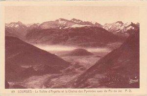 France Lourdes La Vallee d'Argeles et la Chaine des Pyrenees vues du Pic...