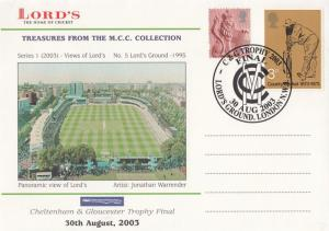 Cheltenham Gloucester Cricket Team Final Lords 2003 First Day Stamp Cover