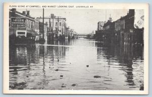 Postcard KY Louisville Flood Scene Campbell & Market Looking East Vintage L18