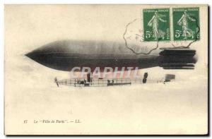 Old Postcard Jet Aviation Zeppelin Airship City of Paris