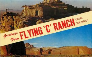 Greetings From~Encino New Mexico~Flying C Ranch~1950's Postcard
