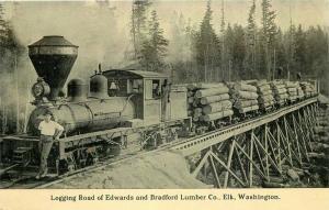 1910 Elk Washington Edwards & Bradford Lumber Industry Railroad Trestle Postcard