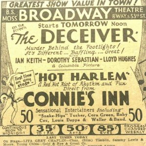 1930 - CONNIES INN - HOT HARLEM CORA GREEN BABY COX JAZZ  SHOW MUSIC THEATER Ad