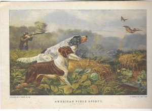 Published Currier & Ives American Field Sports Two Hunting Dog Prints  5 by 7 in