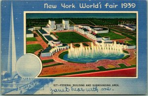 1939 NEW YORK WORLD'S FAIR Postcard FEDERAL BUILDING Aerial View Miller Linen