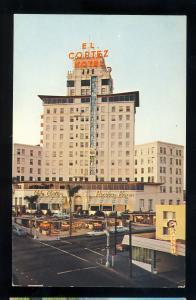 San Diego, California/CA Postcard, El Cortez Hotel, 1950's Cars