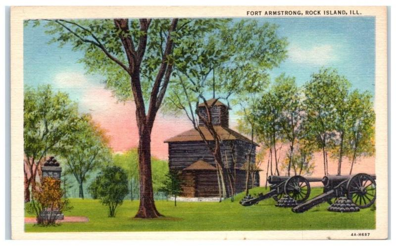 Mid-1900s Fort Armstrong, Rock Island, IL Postcard