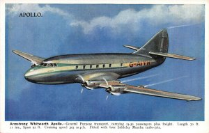 Armstrong Whitworth Apollo, 4 Engine Plane, Circa 1940's Postcard, Unused