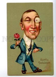 149586 COMIC Gentleman Tuxedo HUGE HEAD Monocle Vintage PC